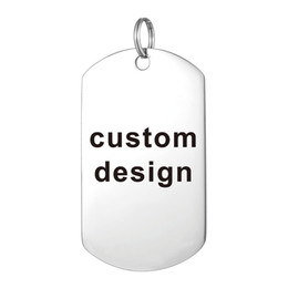 Wholesale Wholesale Custom Necklaces - Custom Laser Engraved Stainless Steel Stamped Large Dog Tag Military Necklaces Pendant Personalized Style Fashion Jewellery