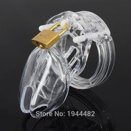 Wholesale Chastity Belts Plastic - Plastic Clear Lucite Male CB6000S Chastity Device Chastity Belt Cock Cage Penis Ring Bondage Sex Toys Dildo Lock Sex Products