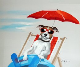 Wholesale Oil Painting Landscapes Dark - Framed Terrier Dog Beach Chair Dark Glasses ,Genuine Hand Painted Modern Animal Pop Art oil Painting Canvas Museum Quality Multi sizes J056