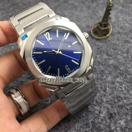 Wholesale Japan Gold Bracelet - AAA Quality Luxury Brand OCTO SOLOTEMPO 42mm Blue Dial 102105 BGO38C3SSD Japan Quartz Men's Watch Stainless Steel Bracelet Cheap New Watches