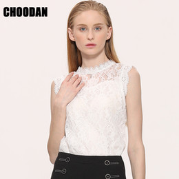 Wholesale Korean Sleeveless Pink Blouse - Lace Blouse Shirt Women Summer Style Blouses 2017 New Korean Sleeveless Solid Hollow Out Pink Blue White Black Lace Top Female