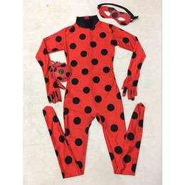 Wholesale Tights For Costumes - The Miraculous Ladybug Costume Kids Halloween Costume For Girls Marinette Cat Noir Cosplay Costume Full Body Zentai Tight Suit
