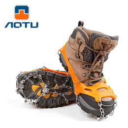 Wholesale snow gear - AOTU 18 Tooth Crampons Shoe Cover Outdoor Climbing Gear Silicon Rubber Overshoes Nail Hiking Climbing Climbing Snow Claw 238