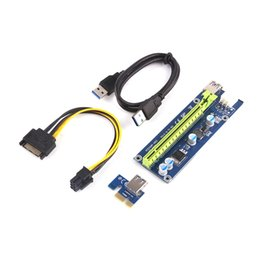 Wholesale Pci Express Cable Adapter - PCI-E Express Extender Riser Card Adapter 1X to 16X 4 6 Pin Power Cable USB 3.0 Ports Cables Ver006 60cm Ver006S Bitcoin Miner Riser