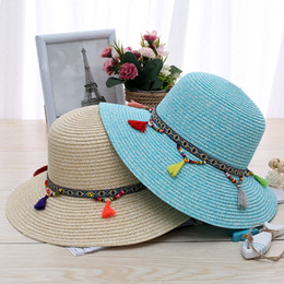 Wholesale Womens Beige Beanie - 2017 designer womens beads tassels dome straw hats outdoor floppy beach sun hats women's beanies wide brim hats summer caps