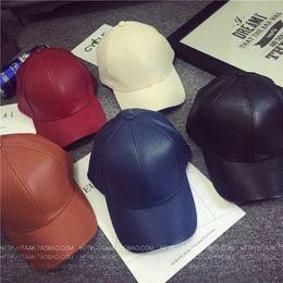 Wholesale Retro Sports Hats - PU Leather Hats Graffiti Adjustable Snapback Baseball Cap Retro Ball Hat Hip-Hop Sports Hats Lovers Shade Hats With High Quality