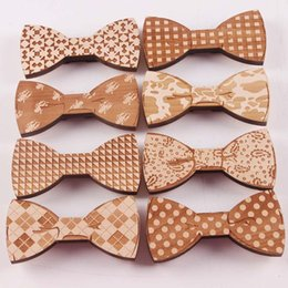 Wholesale Geometric Wood - HOT magnetic Wood Bow Ties Goodwood 8 styles Handmade Vintage Traditional Bowknot For Gentleman Wedding Wooden Bowtie