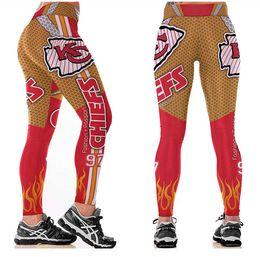 Wholesale Cheap Sexy Pants - New Women Sexy Fitness Kansas City American Football Leggings Red Yellow 3D Print Lady Running Leggins Training Yoga Pants Wholesale Cheap