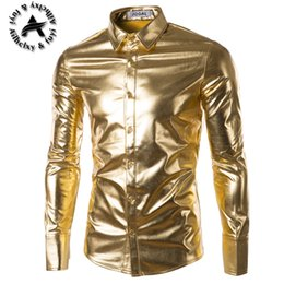 Wholesale Stylish Dresses For Men - Wholesale- Mens Trend Night Club Coated Metallic Gold Silver Button Down Shirts Stylish Shiny Long Sleeves Dress Shirts For Men