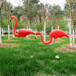ornamento del cortile Sconti 1pair Anguria di plastica Red Flamingo Garden Yard And Lawn Arte Ornament Wedding Ceremony Decoration 31 Quot; Altezza