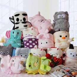 Wholesale cartoon blanket cushion - 13styles Baby's Cartoon Animal Coral Blanket Bear Owl Elephant Totoro plush multifunction cushion blanket 75*95cm Air conditioning blanket