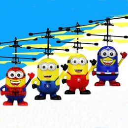 Wholesale Despicable Plastic - EMS Free Ship Despicable me infrared Induction rc aircraft Flying Helicopter Spider Super Man Kid Toys Children Gift Present Drone