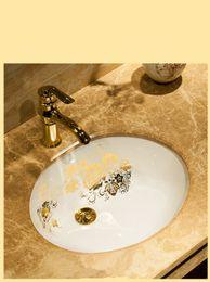 Wholesale Unique Bathroom Sinks - 470*385mm Unique Bathroom Oval Lavabo Ceramic Under Counter WashBasin Cloakroom Embeded Porcelain Vessel Sink in Eurpean Style JY889