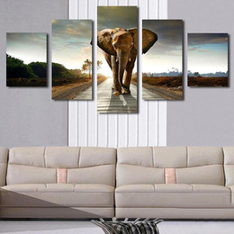 Wholesale Giant Art Prints - 5p Giant Elephant Painting Oil Canvas Print Unframed Wall Art Picture Home Living Room Wall Decor Modern Canvas Artwork