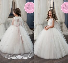 Wholesale Communion Cape - 2017 New Lovely White Princess Flower Girls Dresses Lace Appliqued Beaded Girls Pageant Gowns Corset Back With Sparkly Sequins Cape Wraps