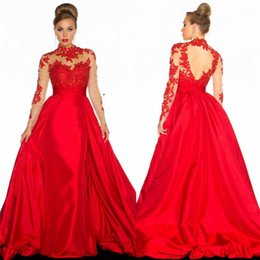 Wholesale Crepe Satin Line - 2017 Celebrity oscar red carpet gown sexy mermaid red long sleeve high collar plus size Prom Gowns Formal Custom Evening Party Club Wear