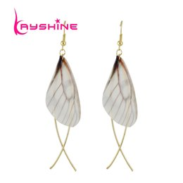 Wholesale Wing Shaped Earrings - Kayshine New Style Fashion Geometric Trendy Gold-Color Drop Earrings With Wings Shape For Women