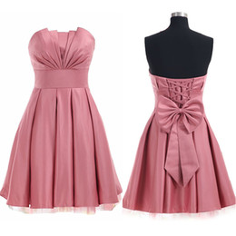 Wholesale Satin Rose Bows - 2017 Charming Dusky Rose Pink Short Homecoming Dresses Strapless Ruched Top Sleeveless Prom Party Gowns with Bow Sash
