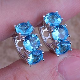 Wholesale Wholesale Swiss Blue Topaz - Wholesale- Adorable Swiss Blue Cubic Zirconia 925 Sterling Silver Huggie Hoop Earrings For Women S0229