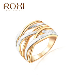 Wholesale Womens Bridal Sets - ROXI Top Brand Luxury Ring For Women 18K Gold Plated Unique 3 Round Finger Rings Elegant Womens Wedding Bridal Jewelry Ringen