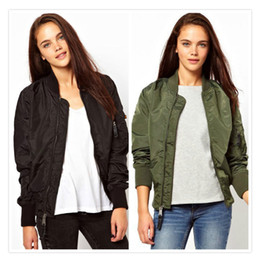 Wholesale Trendy Zips Women - Wholesale- 2016 Winter Short Quilted Bomber Jacket Women Slim Casual Baseball Coat Zip Outerwear Army Green Black Top Trendy Jacket S - 2XL