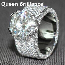 Wholesale Diamond Accent Rings - 5 ct F Color Engagement Wedding Bague Gros Lab Grown Moissanite Diamond Ring With Real Diamond Accents Real 14K 585 White Gold 17903
