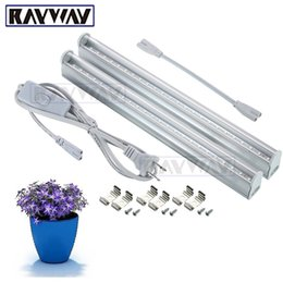 Wholesale Led T5 Bar - RAYWAY 2PCS Set T5 5W LED Grow Light Tube with Switch 660nm red and 455nm blue 2835smd led Growing Bar lamp for plants AC85-265V