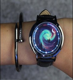 Wholesale Touchscreen Wristwatch - LED Touchscreen Wristwatch Romantic Star Cloud Men Ladies Teens Fashion Auto Date Calendar Mixed Pattern Genuine Leather Smart Watches Gift
