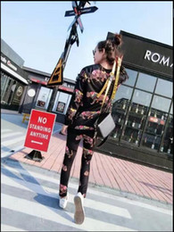 Wholesale Long Loose Pants Female - 2017 fashion loose leopard printed round neck long section sweater + leggings two sports suit female