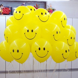 Wholesale Floating Ball Toy - 10pcs lot 12inch Yellow Smiley Face Latex Balloons Air Balls Inflatable Wedding Party Decoration Birthday Party Float Balloons