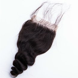 Wholesale Brazilian Knot Hair Extension - Brazilian Peruvian Malaysian Indian lace closure Hair Extension Lace Closure Loose wave 4x4inch lace closure piece bleach knot