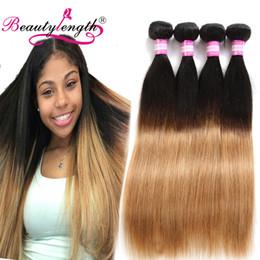 Wholesale European Two Tone Hair - Brazilian Virgin Human Hair Extensions 4Bundles Cheap Straight Two Tone Human Hair Bundles Unprocessed Virgin Brazilian Straight Hair Weaves