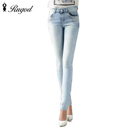 Wholesale Wholesale Good Jeans - Wholesale- 2017 Classic Style Straight Jeans Women Mid Waist Light Blue Jeans Female Elastic Denim Pants Female Trousers Of Good Quality