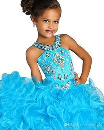 Wholesale Turquoise Blue Halter Pageant Dress - 2017 Little Girls Pageant Dress Ball Gown Long Turquoise Organza Halter Crystals Ruffled Flower Girls Birthday Party Dresses
