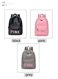 Wholesale Backpack Teenagers - Love Pink Letter PU Leather Bags Backpack Girls Fashion Deisgn Outdoor Sports Travel Teenager School Rucksack Waterproof Shoulder Bag DHL