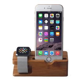 Chargeur porte-bois en Ligne-Support de chargeur en bois de bambou pour Apple Watch 38mm 42mm pour téléphone intelligent, téléphone portable, téléphone Android