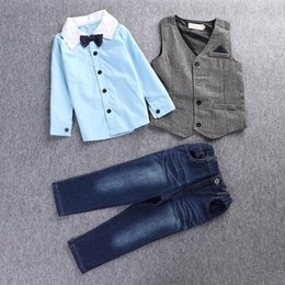 Wholesale Sets Boy Retail - Retail Boys Clothing Sets Kids Long Sleeve Gentleman Children Shirts+Waistcoat+Jeans Three Piece Outfits Boy Clothing 2-7Y 5130