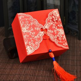Wholesale Tassel Candy Box - Traditional Chinese Red Wedding Candy Box Tassels Wedding Favor Boxes Size 9x9x6cm Wholesale Free Shipping wen4465