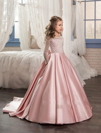 Wholesale Knot Long Sleeve Girl Shirts - Pink Princess Long Sleeves Flower Girls Dresses 2017 Bow Knot Delicate Beaded Sequins Ball Gown Floor Length Girls Pageant Birthday Gowns
