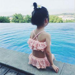 Wholesale Toddler Piece Bikini - Lace Baby Girls Swimwear Summer lace hollow double falbala Shorts Toddler bikini swimsuits 2pcs Sets Kids spa beach Swimming C1441