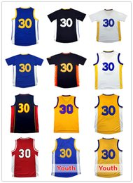 Wholesale Cheap Men S Gold - 2017 Men Curry #30 Basketball jersey 100% stitched Youth Kid Curry 30 jersey Cheap wholesale High quality Embroidery Logos Free Shipping