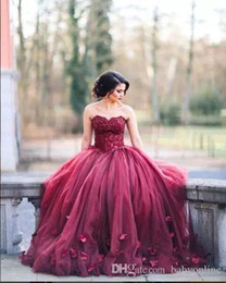 Wholesale Basque Waist Dress - 2017 New Burgundy Strapless Ball Gown Princess Quinceanera Dresses Lace Bodice Basque Waist Backless Long Prom Gowns