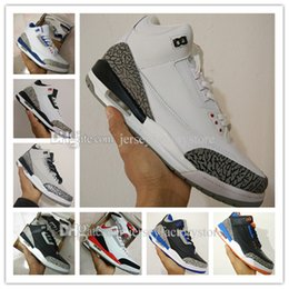 Wholesale Embroidered Leather - Brand Cheap New Retro 3 3s III White Cement Black Cement Wolf Grey Metallic Wholesale Mens Basketball Shoes sneakers Eur 41-47 free shipping