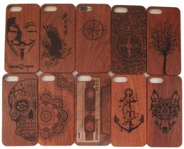 Wholesale Wholesale Unique Iphone Case - Luxury Unique Wood Carving Case For Iphone 7 6s 6 plus Cases Wooden TPU Cover Bamboo Hard Protector For Apple Iphone 7plus 6plus Shell