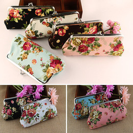 Wholesale Flowers Wallet - Creative Vintage Flower Long Coin Purse Canvas Key Holder Wallet Hasp Buckles Small Gifts Bag Clutch Handbag Bank Card Casual Bag WX-W18
