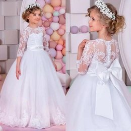 Wholesale Little Girl Pageant Belts - 2017 Elegant Flower Girl Dresses for Weddings First Communion Dresses Bow Beads Belt Little Girls Pageant Dresses Sleeves Child Formal Gowns