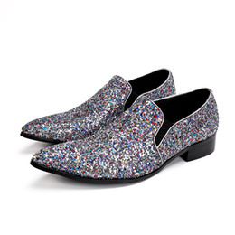 Wholesale Hot Club Heels - Hot Men Casual Shoes Fashion Zapatos Hombre Point Toe Slip On Formal Shoes Men Glitter Loafer Shoes Party Night Club Oxfords