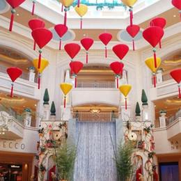 "Wholesale Traditional Chinese Lanterns Wholesale - 25pcs lot 12inch 30cm 14"" 35cm Chinese Traditional Diamond Jacquard Satin Silk Lanterns New Year Mall Party Decorations ZA1572"