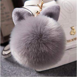Wholesale Rabbit Charms - 16 Colors Faux Rabbit Fur Ears Pompom Ball Key Chain Phone Car Handbag Charm Accessories Faux Rabbit Fur Ears Pendent LJJC5241 50pcs