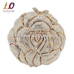 Wholesale studded leather purses - Wholesale- Stylish Golden Crystal Evening Bag Rhinestone Luxury Studded Feast Clutch Bag Rose Flower Diamond Sparkly Party Purse 88239